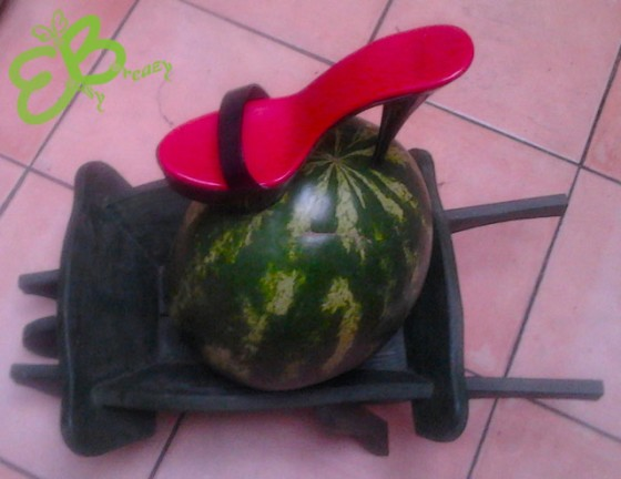 Red sole of a watermelon